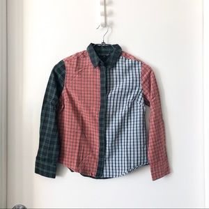 Topshop plaid checkered button up top